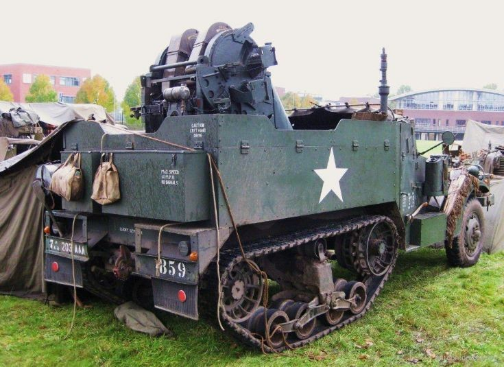 White halftrack with AAA turret