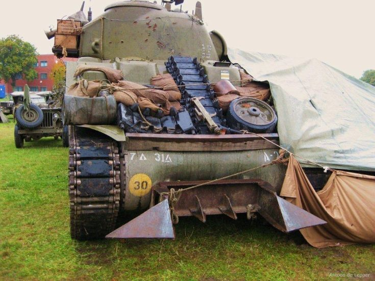 Sherman with mine-plough