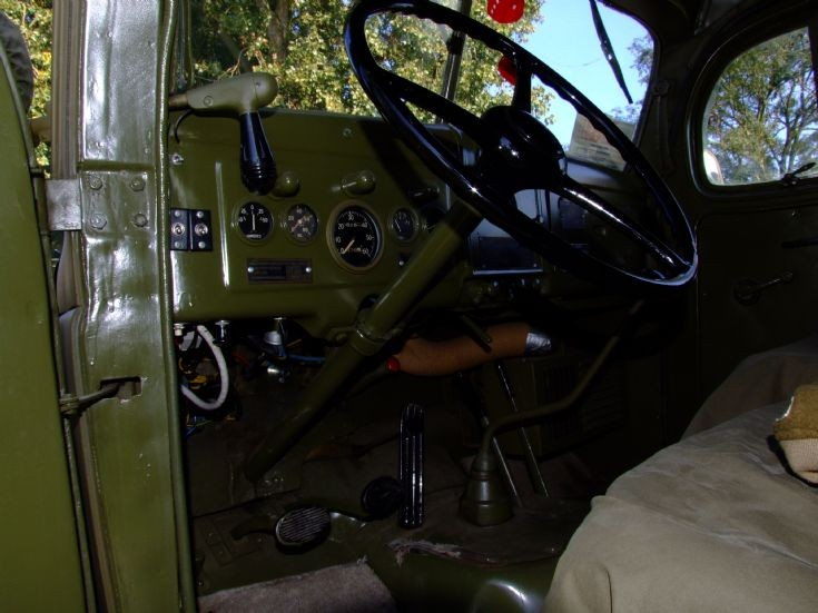 Interior photo of classic truck