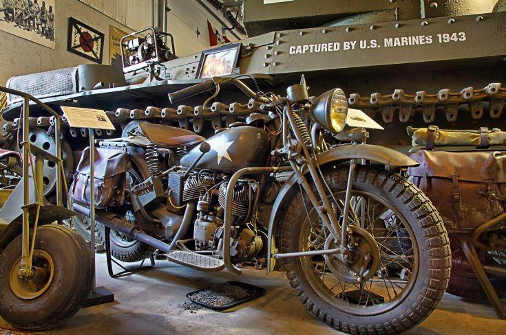Military Harley Davidson on display