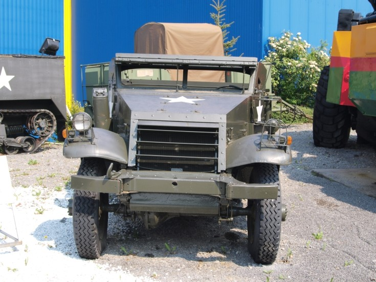 Front view of old US Army vehicle