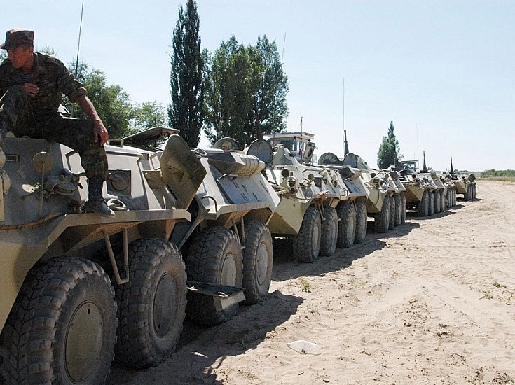 row of BTR-80 in Kazakhstan August 2004