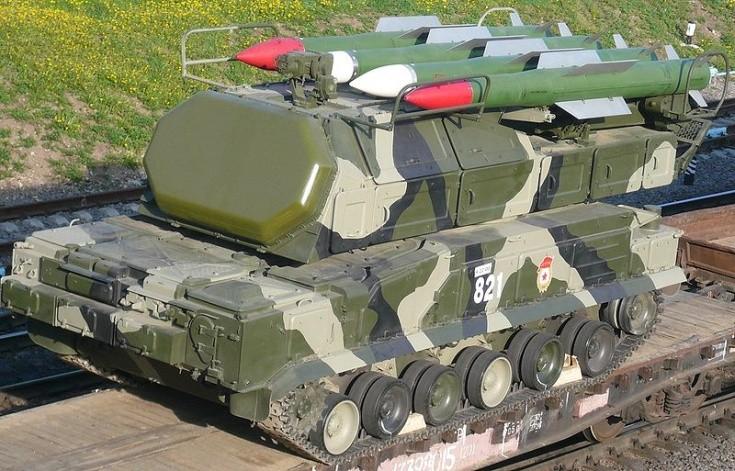 Buk missile system. TEL 9A317