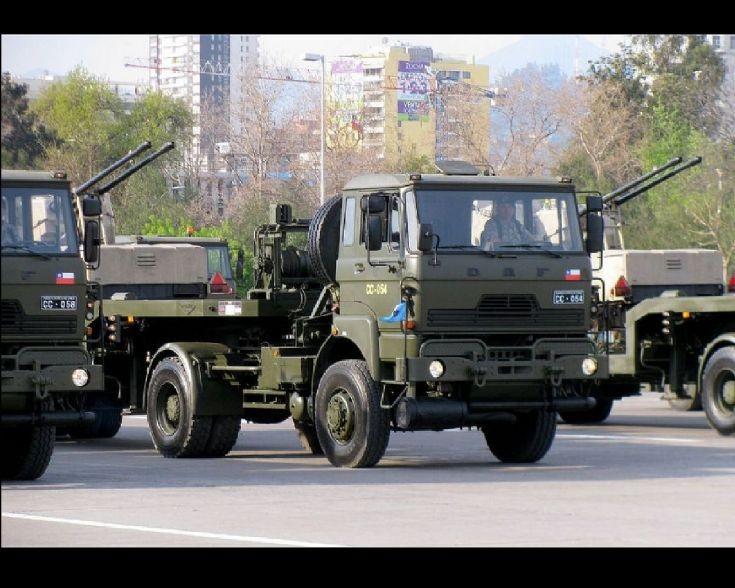 DAF army trucks in Chili