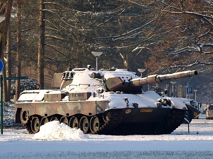 Snow covered tank