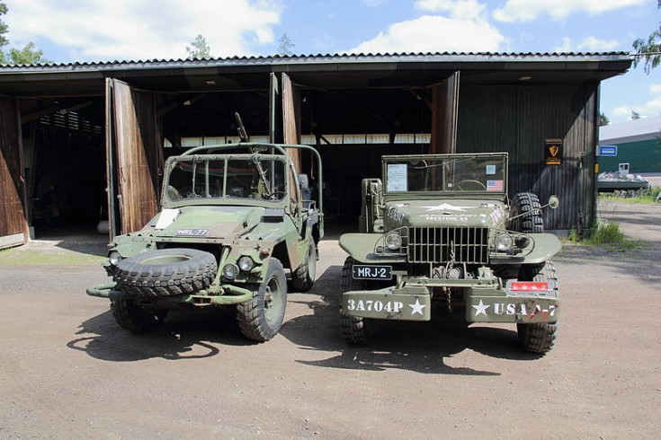 Volvo L3304 and Dodge WC-52 weapon carrier