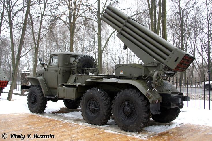 BM-21 Grad launcher on Ural-375D chassis