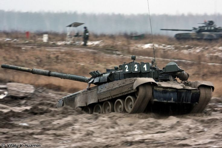 T-80U at exercise
